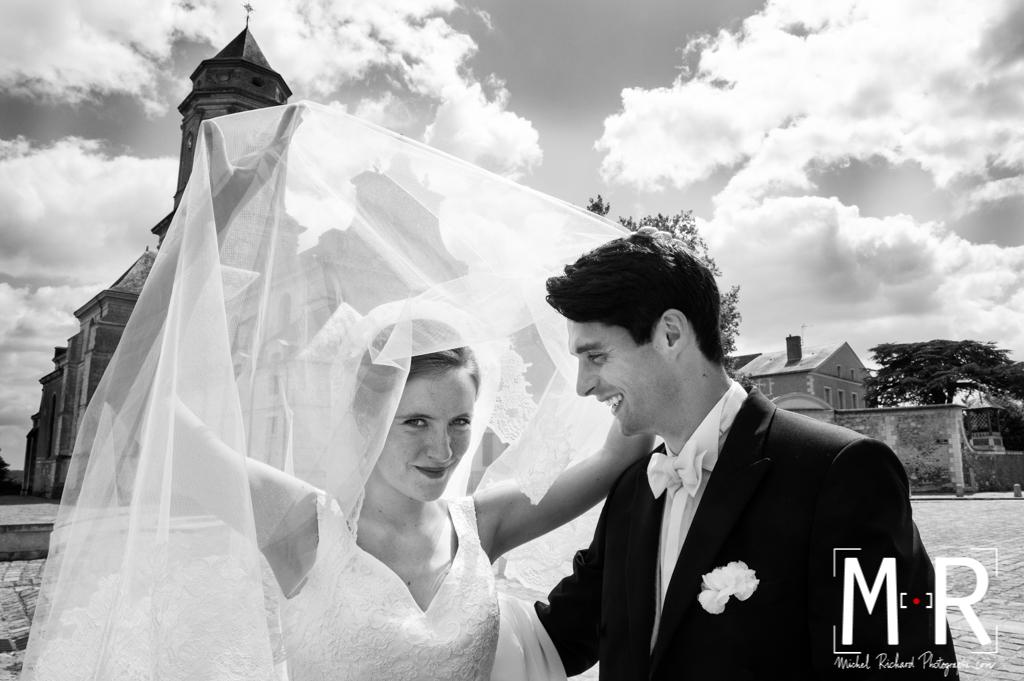 Mariage-Mariés voile-couple-Michel-Richard-