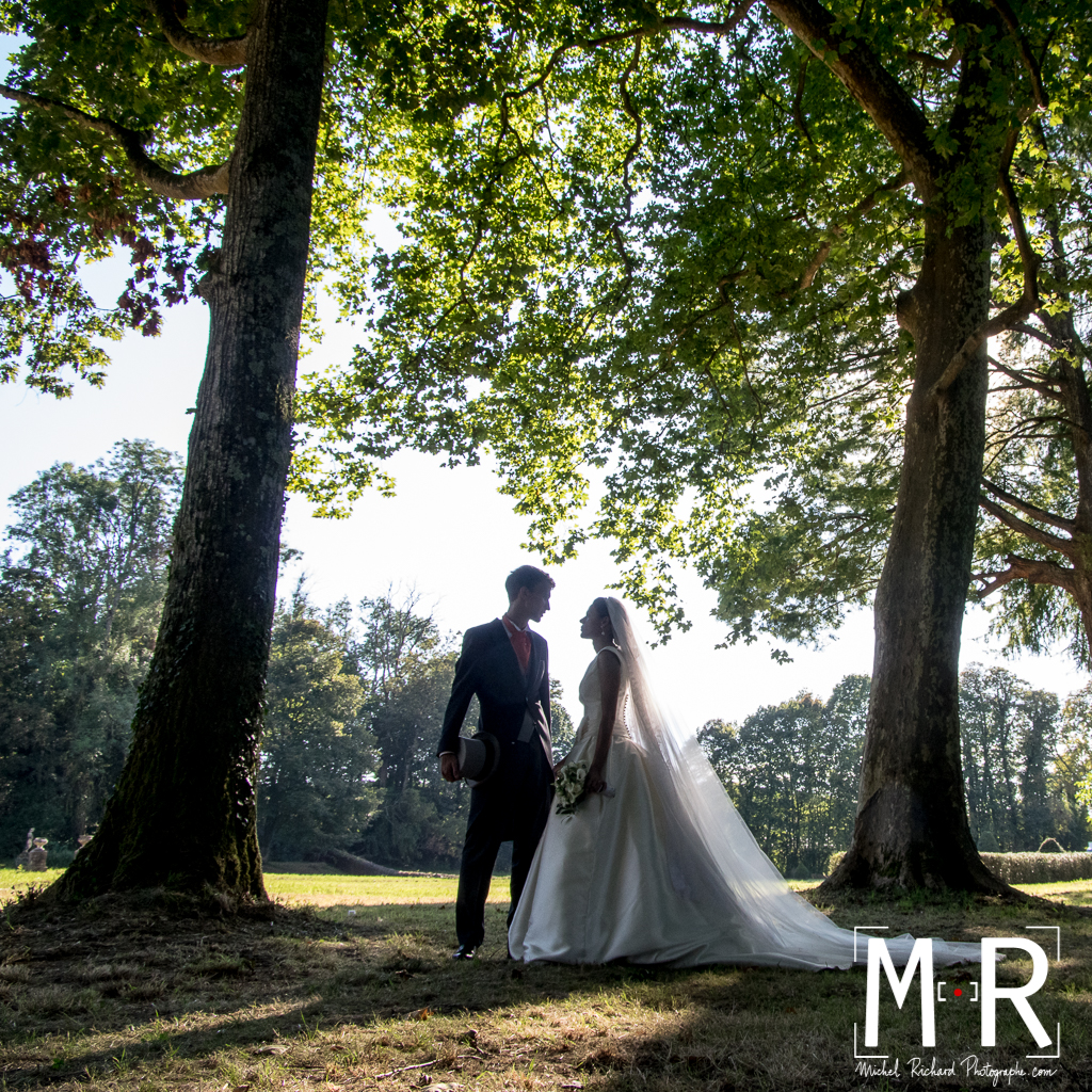 portrait des mariés - contrejour avec arbres et feuillages