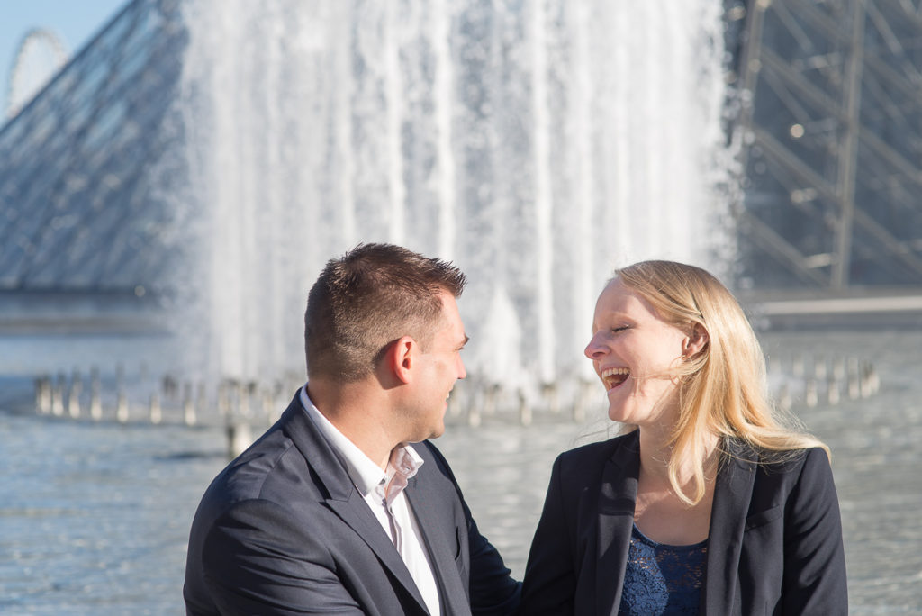 laughing couple in Paris